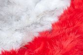 Fur Texture Background. Red And White Fluffy Fur Diagonally. Long Pile. poster