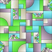 Stylish Pattern With Eyes In Geometric Shapes Grid Scandinavian Fashion Retro Textile Print. Modern  poster