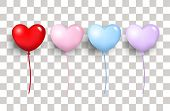 Celebration Balloon Valentines Day On A Transparent Background. Balloons Valentines Day. Balloon Hea poster