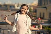 Audio Tour Headphones Gadget. City Guide And Audio Tour. Girl Little Tourist Kid Explore City Using  poster