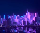 Night City Buildings In Neon Lights. Growing Megapolis Development Skyline, Cityscape With Futuristi poster