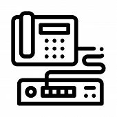 Home Telephone And Video Recorder Connection Icon Vector. Outline Home Telephone And Video Recorder  poster