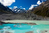 Emerald glacier lake in Aoraki Mt Cook NP