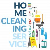 Vector Set Of Household Supplies Cleaning Product , Tools Of House Cleaning Isolated On White Backgr poster
