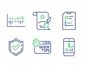 Quick Tips, Confirmed And Column Diagram Line Icons Set. Report Document, Creative Painting And Mobi poster