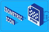Isometric Png File Document. Download Png Button Icon Isolated On Blue Background. Png File Symbol.  poster