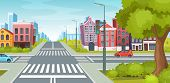 Urban Street With Roads, Facade Of Urban Buildings And Landscape. poster