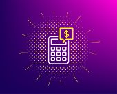 Calculator Line Icon. Halftone Pattern. Accounting Sign. Calculate Finance Symbol. Gradient Backgrou poster