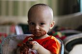 Little Kid Eating Chocolate. Happy Little Boy Smeared With Chocolate Around His Mouth. Unhealthy Eat poster