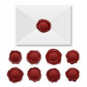 Vector 3d Realistic Envelope And Vintage Retro Stamp Wax Seal Icon Set Closeup Isolated On White Bac poster