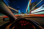 Movement Of The Car At Night At High Speed View From The Interior With Driver Hands On Wheel. Concep poster
