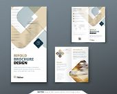 Bi Fold Brochure Design. Biege Template For Bi Fold Flyer. Layout With Modern Square Photo And Abstr poster