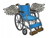 Wheelchair With Wings Sketch Engraving Vector Illustration. T-shirt Apparel Print Design. Scratch Bo poster