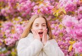 Flowers As Soft Pink Clouds. Sniffing Flowers. Child Enjoy Warm Spring. Girl Enjoying Floral Aroma.  poster