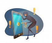 Password Cracking Flat Vector Illustration. Hacker, Cyber Criminal In Mask Cartoon Character. Hacker poster