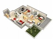 picture of villa  - computer generated floor plan of a villa - JPG