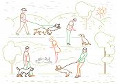 Walking The Dog In A Park. Doggy Behavior Image. Adorable Domestic Animal Or Pet Owner. Simple Carto poster