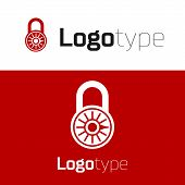 Red Safe Combination Lock Wheel Icon Isolated On White Background. Combination Padlock. Security, Sa poster