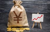 Yen Yuan Symbol Money Bag And Red Trend Arrow Up Chart. Deposit And Savings. Iincreasing Profits And poster