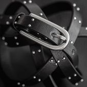 Black Leather Belt With Decorative Metal Fittings On The Dark Color Genuine Leather Background. Conc poster