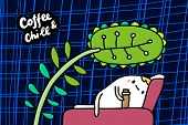 Coffee And Chill Hand Drawn Vector Illustration In Cartoon Comic Style Man Laying On Bed Under Big P poster