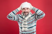 Dont Let Cold Winter Weather Affect Your Style. Happy Man In Winter Style Red Background. Mature Man poster