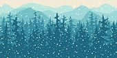 Nature Vector Background, Winter Landscape In Snowfall With Mountains And Pine Forest. poster