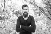 Casual But Fashionable. Fashionable Look Of Surprised Vogue Model On Natural Landscape. Bearded Man  poster