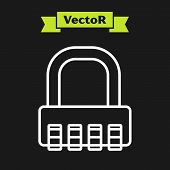 White Line Safe Combination Lock Icon Isolated On Black Background. Combination Padlock. Security, S poster