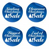 Blue Christmas Sale Stickers Sizzling, Clearance, Biggest, End Of.vector Illustration poster