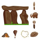 Vector Illustration Of Ancient And Age Symbol. Collection Of Ancient And Archeology Vector Icon For  poster