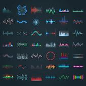 Sound Wave, Vector Different Shape Icons, Music Audio Equalizer And Frequency Patterns. Abstract Mus poster