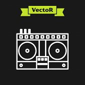 White Line Dj Remote For Playing And Mixing Music Icon Isolated On Black Background. Dj Mixer Comple poster