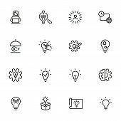 Idea For Startup Line Icon Set. Shining Bulb, Lightbulb, Gear, Entrepreneur. Business Concept. Can B poster