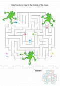 pic of baby frog  - Simple maze for kids with three frogs  - JPG