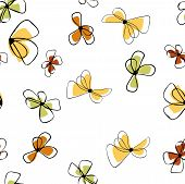 Flowers In Vintage Style On Soft White Background. Element Decorative Floral. Seamless Floral Backgr poster