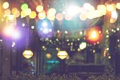 Blurred Bokeh Night Lights In Restaurant, Pub Or Bar, Abstract Image Of Night Festival, Christmas An poster