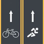Bike Path And Running Track With Bicycle And Runner Symbols On Asphalt. Painted Mark Track For Cycli poster