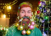 Christmas Decoration. Christmas Holidays. Cheerful Santa Man With Decorated Beard. New Year Party. C poster