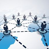 3d Global Business Network Connections Concept With Connected People And World Map poster