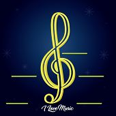 Treble Clef Image On A Colored Background - Vector poster