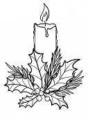 Candle. Christmas Burning, Wax Candle Decorated With Evergreens - Spruce, Holly. Fragrant Festive, T poster