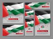 United Arab Emirates National Day Celebration Posters Set. 2th Of December Felicitation Greeting Vec poster