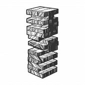 Wooden Block Tower Game Sketch Engraving Vector Illustration. T-shirt Apparel Print Design. Scratch  poster