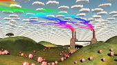Surreal landscape with factory and pigs moving toward factory. 3D rendering poster