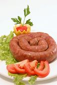 Domestic Sausage Served With Vegetables poster