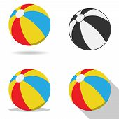 Beach Ball, Beach Ball Icon. Vector Illustration Of A Beach Ball With Shadow. poster