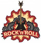 Vector Music Banner With Lettering Rock And Roll, An Electric Guitar, Speakers And Fire In Modern St poster