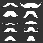 Mustache, Silhouette Of Male Mustache Isolated On A Black Background. Vector, Cartoon Illustration O poster
