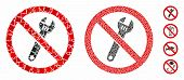 No Spanner Mosaic Of Rough Items In Variable Sizes And Color Tones, Based On No Spanner Icon. Vector poster